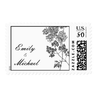 Black and White Botanical Illustration Wedding Postage