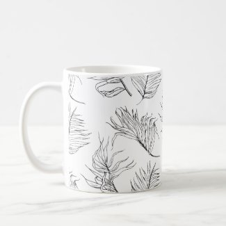 Black and White Botanicals Coffee Mug