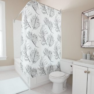 Black and White Botanicals Shower Curtain