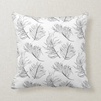 Black and White Botanicals Throw Pillow