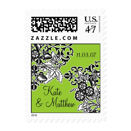 Black and White Bouquet Postage Stamp