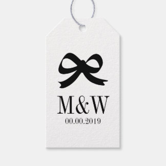 Black and white bow ribbon wedding favor gift tags