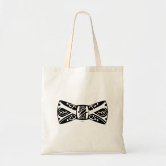Black and White Bow Tie Canvas Bag