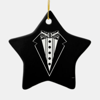 Black and White Bow Tie with Tux Ceramic Ornament