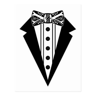 Black and White Bow Tie with Tux Postcard