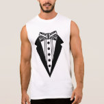 Black and White Bow Tie with Tux Sleeveless Shirt