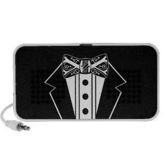 Black and White Bow Tie with Tux Travel Speaker