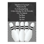 Black And White Bowling Party Blackboard 5x7 Paper Invitation Card