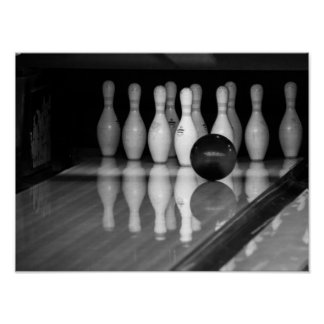 Black and White Bowling Poster