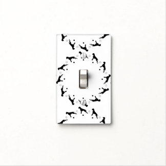 Black and White Boxer Dogs Light Switch Cover