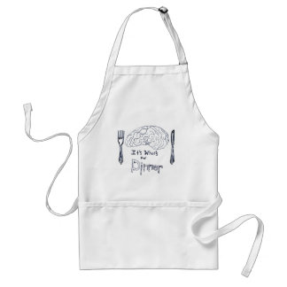 Black and White Brains for Dinner Adult Apron