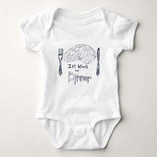 Black and White Brains for Dinner Baby Bodysuit