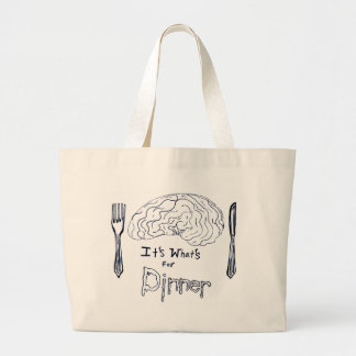 Black and White Brains for Dinner Large Tote Bag