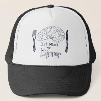 Black and White Brains for Dinner Trucker Hat
