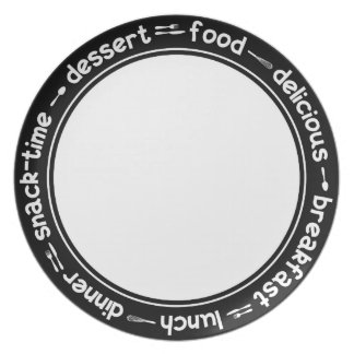 Black and white Breakfast Lunch Dinner text plate