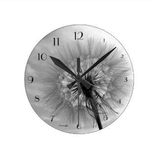 """black-and-white breath flower"" by mysteryella round wallclocks"