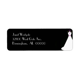 Black and White Bridal Gown Address Labels