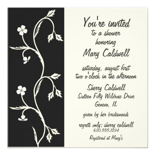 Black and white bridal shower invitation zazzle for Black and white bridal shower invitations