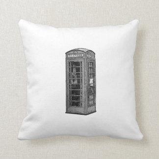 Black and White British Telephone Box Illustration Pillows