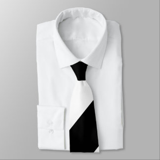 Black and White Broad Regimental Stripe Tie