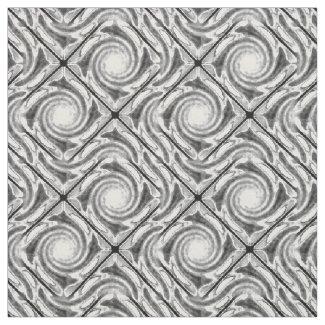 Black and White Broken Diamond Swirl Fabric