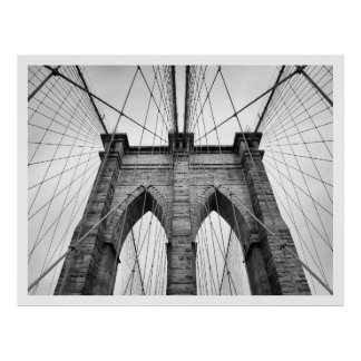Black And White Brooklyn Bridge Close-up Poster