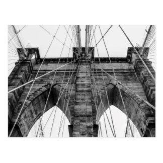 Black and White Brooklyn Bridge Photo NYC Postcard