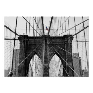 Black and White Brooklyn Bridge w/Color Flag Poster