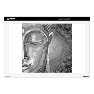 """Black and White Buddha Face 17"""" Laptop Decal"""