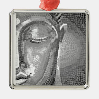 Black and White Buddha Face Metal Ornament