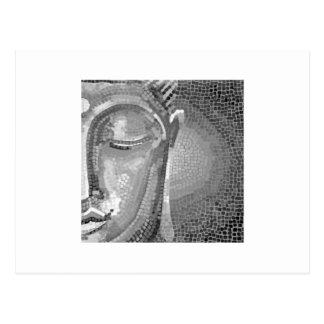 Black and White Buddha Face Postcard