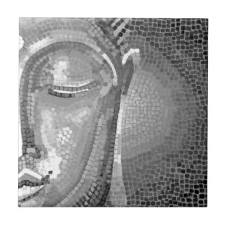 Black and White Buddha Face Small Square Tile