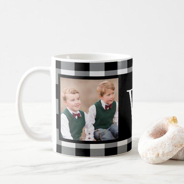 Black And White Buffalo Check 2 Photo Monogram Coffee Mug Zazzlecom