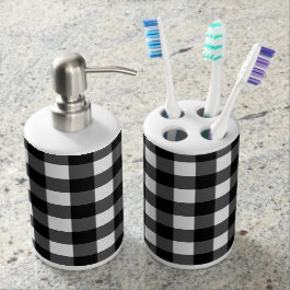 Black and White Buffalo Check Bath Set