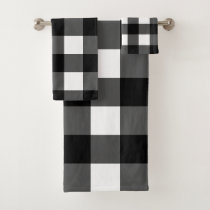 Black and White Buffalo Check Bath Towel Set
