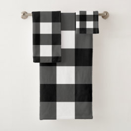 Black and White Buffalo Check Bath Towel Set
