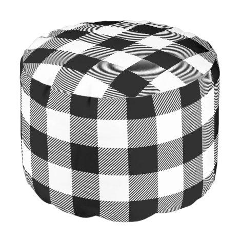 Black and White Buffalo Check | Editable Colors Pouf