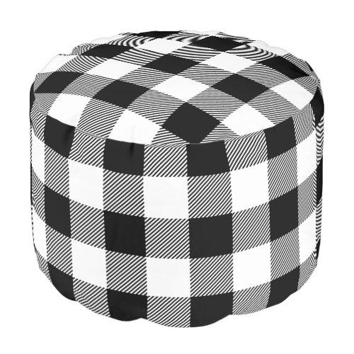Black and White Buffalo Check   Editable Colors Pouf