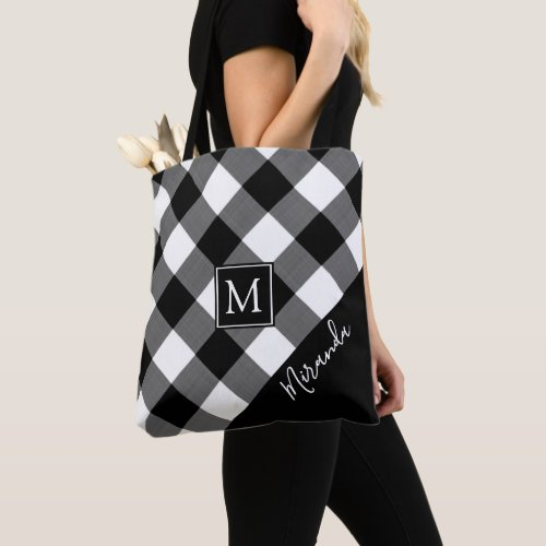 Black and White Buffalo Check Plaid Monogram Name Tote Bag