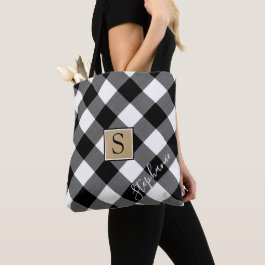 Black and White Buffalo Check Plaid Monogram Tote Bag