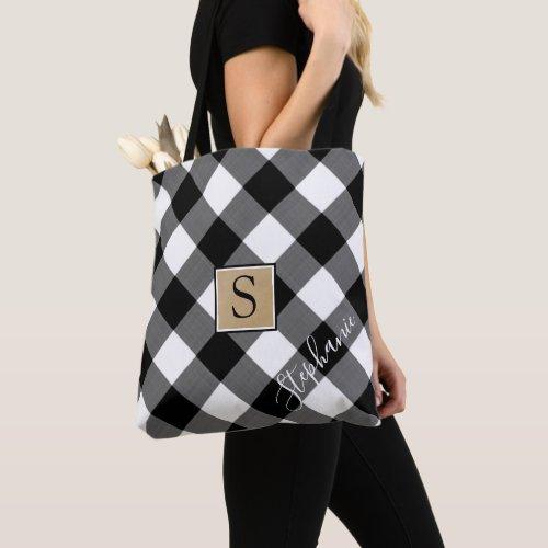 Black and White Buffalo Check Plaid Monogram Tote Bag