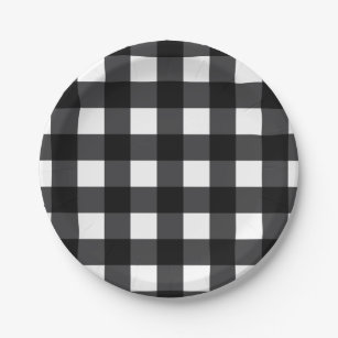 Black and White Buffalo Check Plaid Paper Plate  sc 1 st  Zazzle & Black And White Plaid Plates | Zazzle