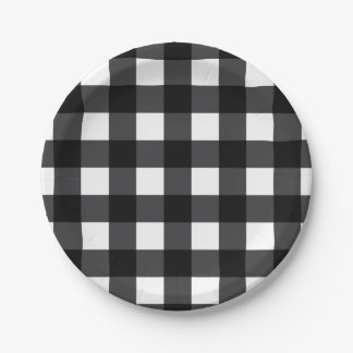 Black and White Buffalo Check, Plaid Paper Plate