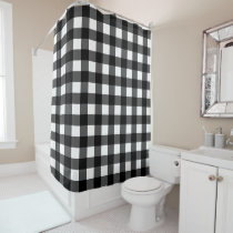 Black and White Buffalo Check Shower Curtain
