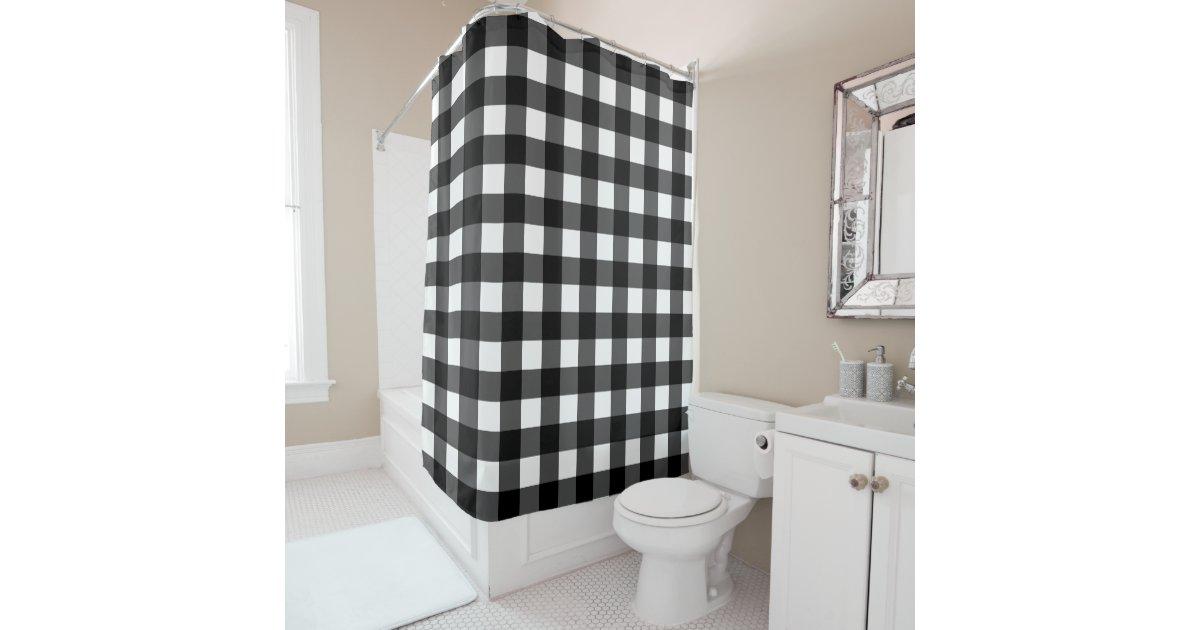 Black And White Buffalo Check Shower Curtain Zazzle Com