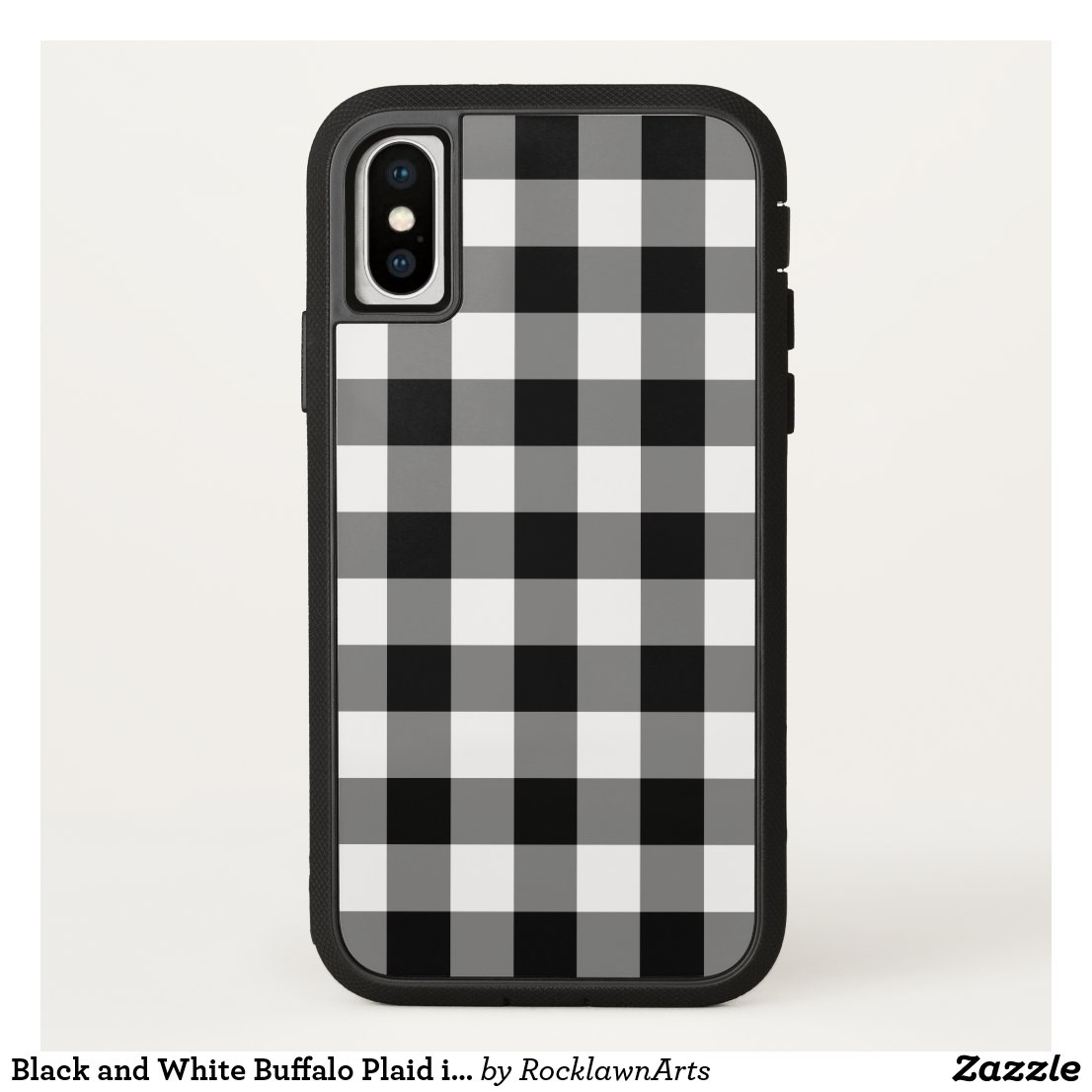 Black and White Buffalo Plaid iPhone X iPhone Case