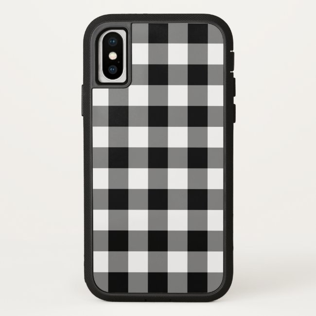Black and White Buffalo Plaid iPhone X