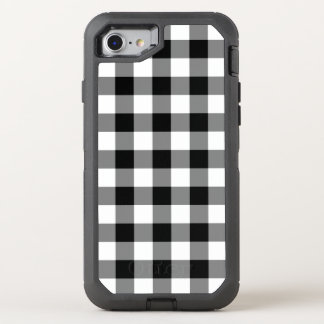 Black and White Buffalo Plaid OtterBox Defender iPhone 8/7 Case