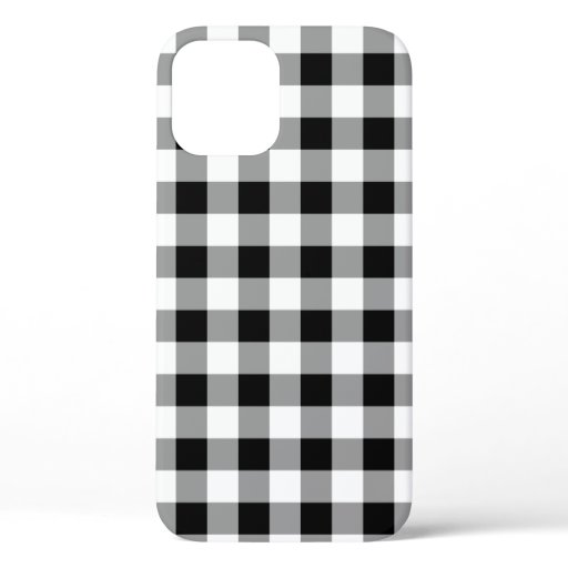 Black and White Buffalo Plaid Pattern iPhone 12 Case