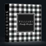 """Black and White Buffalo Plaid Recipe Cookbook 3 Ring Binder<br><div class=""""desc"""">Classic Buffalo Plaid patterned personalized family recipe cookbook binder!</div>"""